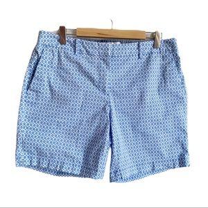 Nautica Blue White Print Cotton Spandex Shorts 8
